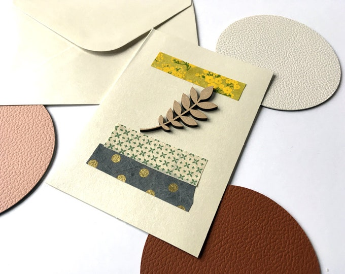 Greetings post card - Paper cut elements and laser cut leaf - Yellow and blue tones