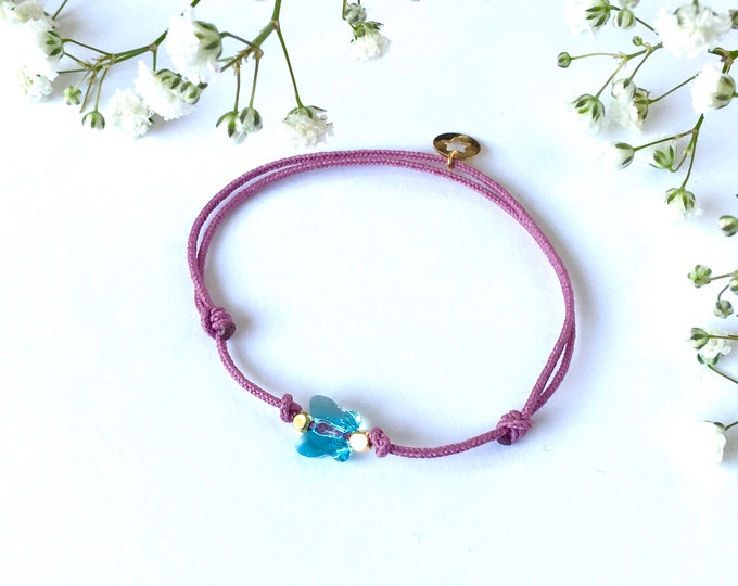 Adjustable bracelet - Light pink Swarovski butterfly cristal 6mm - Gold plated square and star beads on white synthetic lacing