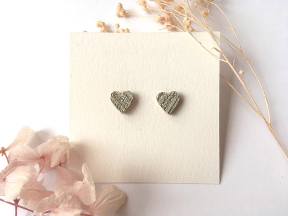Heart love earrings - Laser cut wood and origami paper - Gold and grey