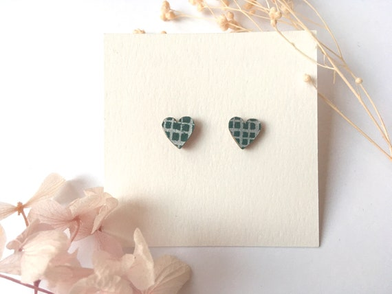 Heart love earrings - Laser cut wood and origami paper - Night blue sliver stripes