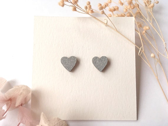 Love heart earrings - Laser cut wood and origami paper - Silver glitter