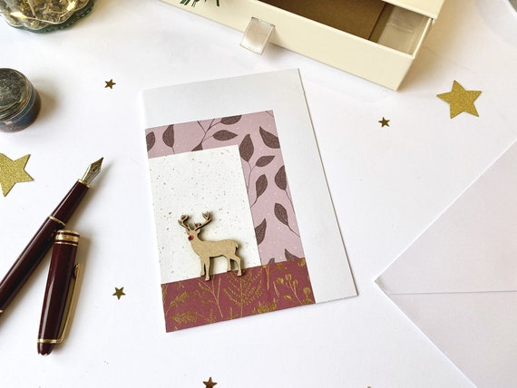 Wish card Rudolf the red-nosed reindeer - Christmas stationery