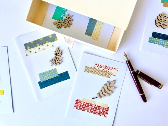 Greetings post card - Paper cut elements and laser cut leaf - Red and blue tones