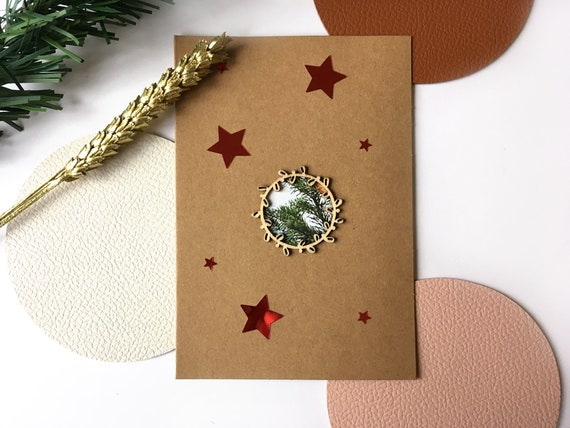 Greeting Cards - Christmas stationery - Festive images and bright red stars - Wooden twig cutting on kraft background