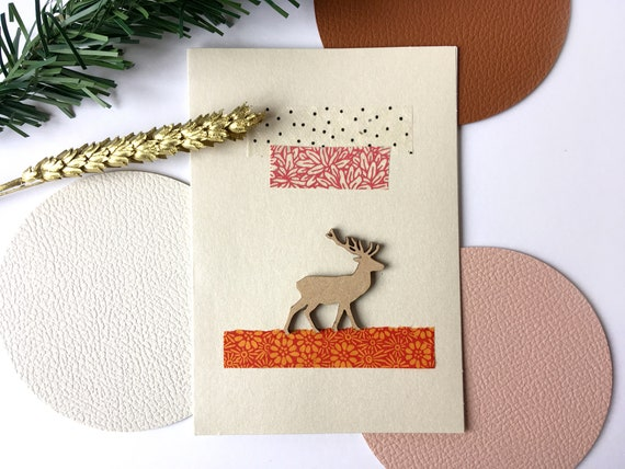 Christmas reindeer greeting card - Christmas stationery - Wood and paper cuts - Colorful theme