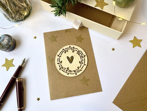 Greeting card - Festive stationery - Cutting wood twig, heart and golden stars
