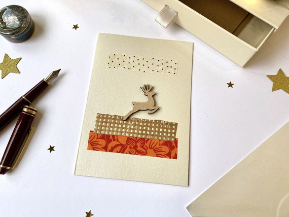 Christmas reindeer greeting card - Christmas stationery - Wood and paper cuts - Iridescent theme