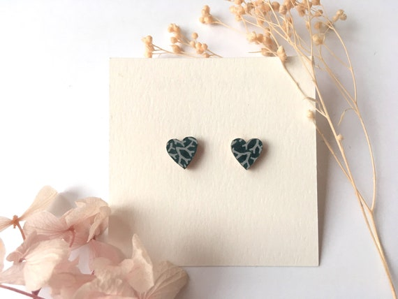 Heart love earrings - Laser cut wood and origami paper - Night blue and light blue corals