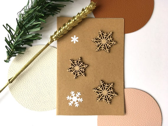 Greeting Cards - Festive Stationery - Wooden Snowflakes - White Paper Flakes Cuts