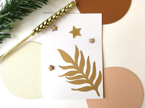 Greeting card - Festive stationery - Wooden stars - Cutting leaves and stars in gold and glitter paper