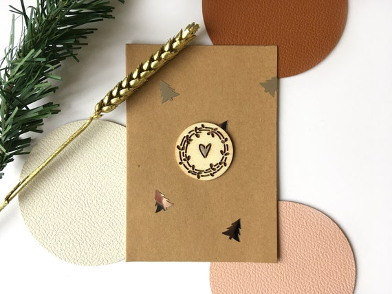 Greeting card - Festive stationery - Cutting of wooden twig, heart and silver firs
