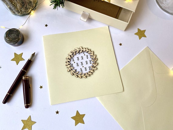 Greeting card - Festive stationery - Cuts of wooden twigs and festive-patterned papers