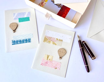 Greetings post card - Paper cut elements and laser cut airshio - Pink and blue tones