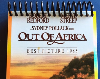 4X6 Sketchbook + bookmark | Made from Upcycled VHS Movie Box | 1985, Out of Africa, Robert Redford, Meryl Streep | Notebook, Bullet Journal