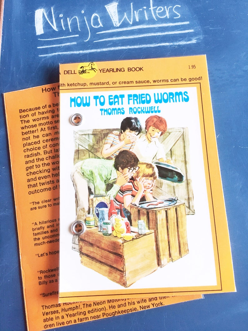 4X6 Index Card Binder | How to Eat Fried Worms | Bullet Journal, Notebook |  Upcycled, 1970s | Book Lover, Literary, Bibliophile