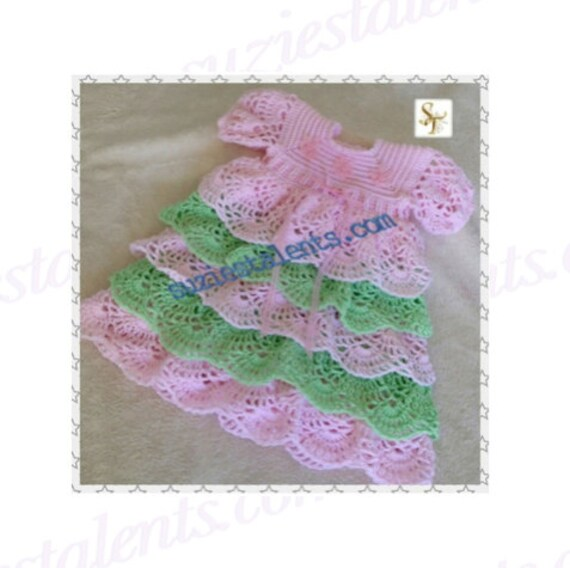 Pt080 3 12 Months Crochet Baby Layers Dress Baby Dress Etsy