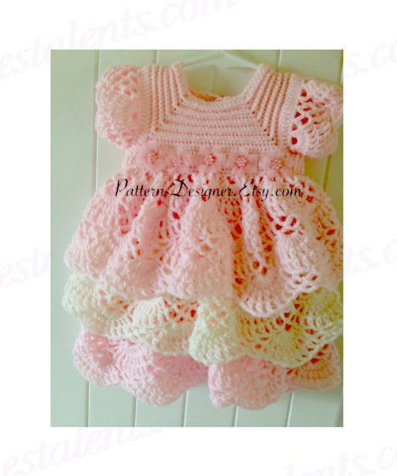 Pt014 3 12 Months Crochet Baby Layers Dress Baby Dress Layers