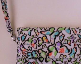 Butterfly Wristlet Clutch, Vegan Butterfly Wallet, Vegan Wallet w Wrist Strap, Butterfly Wallet w Wrist Strap, Wristlet Wallet w Butterflies