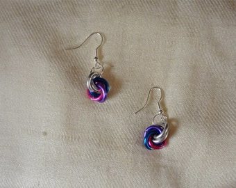 The Indigo Rainbow Chainmaille Earrings