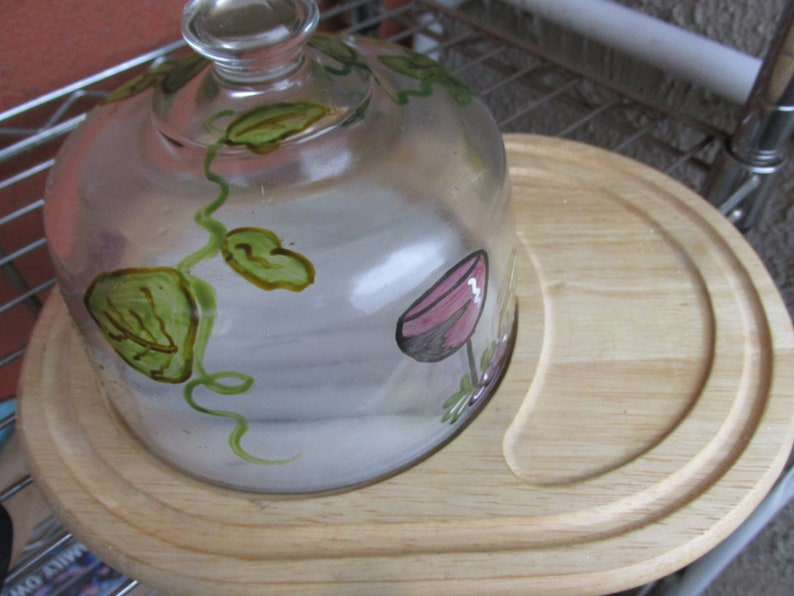 Cheese board with Hand Painted Glass Dome