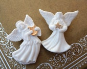 Vintage LENOX Angel Pin Set of 2, White Porcelain Angel Pin, Christmas Angel Brooch Pin, Estate Jewelry, Christmas Jewelry Gift