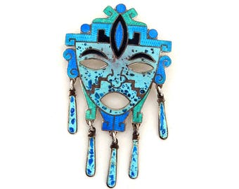 Vintage JERONIMO FUENTES Tribal Mask Pin Pendant Dangles Taxco Mexico Sterling Silver Blue Enamel , 1950's Mexican Aztec Mask Brooch Pendant