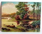 Signed Landscape Oil Painting, Signed Heintz, Mid Century Art Painting Creek River Trees Pink Blooms, Peaceful Spring Summer