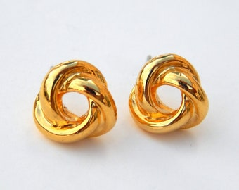 76c3d9b76 Vintage Tiny Gold Knot Earrings, Love Knot Stud Earrings Gold Tone,  Minimalistic Small Earrings