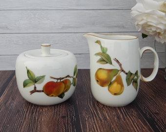 ROYAL WORCESTER EVESHAM England Sugar Bowl Creamer Set Pears Apples Cherries White Porcelain Gold Rim