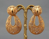 SARAH COVENTRY Doorknocker Earrings Clip-Ons Two-Timer Day to Night Convertible Gold Doorknocker Earrings