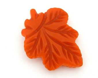 Vintage Orange BAKELITE Leaf Dress Clip, Carved Orange Bakelite Autumn Leaf Dress Clip, Large Deeply Carved Bakelite Clip, Estate Jewelry
