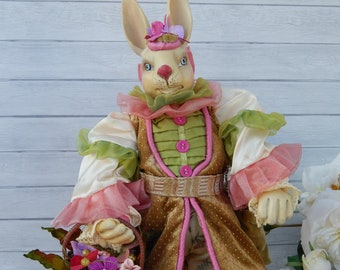Tall Easter Bunny with Flower Basket in Pink & Green Outfit, Dressed Up Easter Bunny Figurine Statue