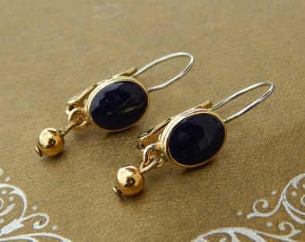Vintage Navy Blue Enamel Earrings, Drop Dangle Earrings Navy Blue and Gold Tone, Pierced Blue Earrings Leverbacks, Estate Jewelry