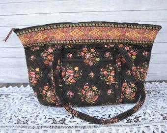 1546039204fc Retired Vera Bradley Brown Tote Handbag Extra Large