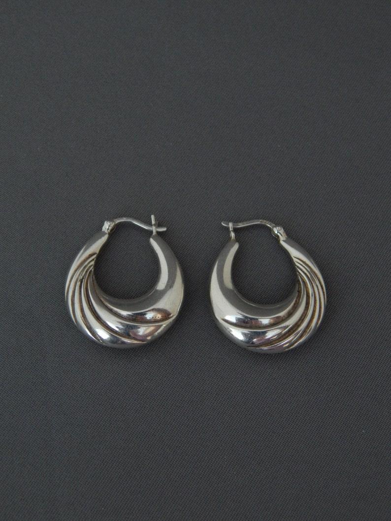 3346495ff Vintage Sterling Silver Creole Hoop Earrings Pierced Sterling | Etsy
