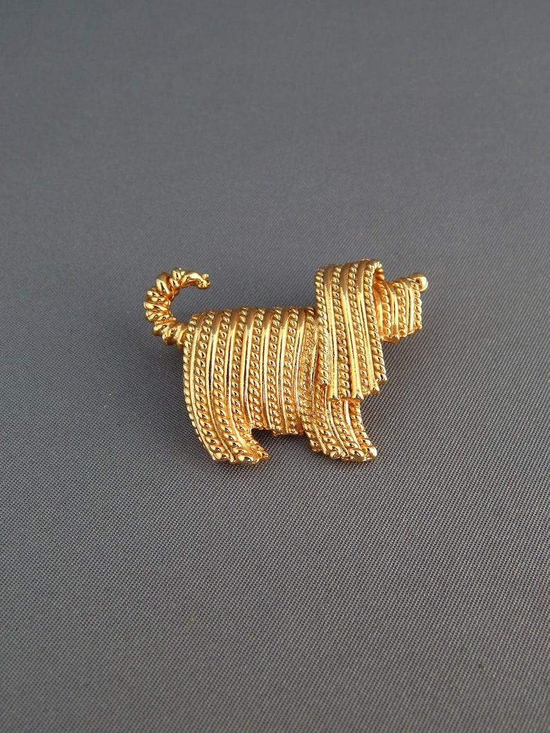 Vintage NAPIER Dog Pin, Gold Tone Long Haired Dog Brooch, Figural Pin,  Komodor Puli Terrier Pin, Dog Lover Gift