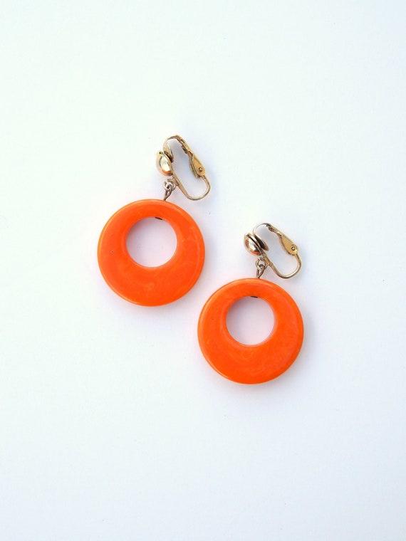 Orange Bakelite Earrings Clip-Ons, Orange Hoop Ear