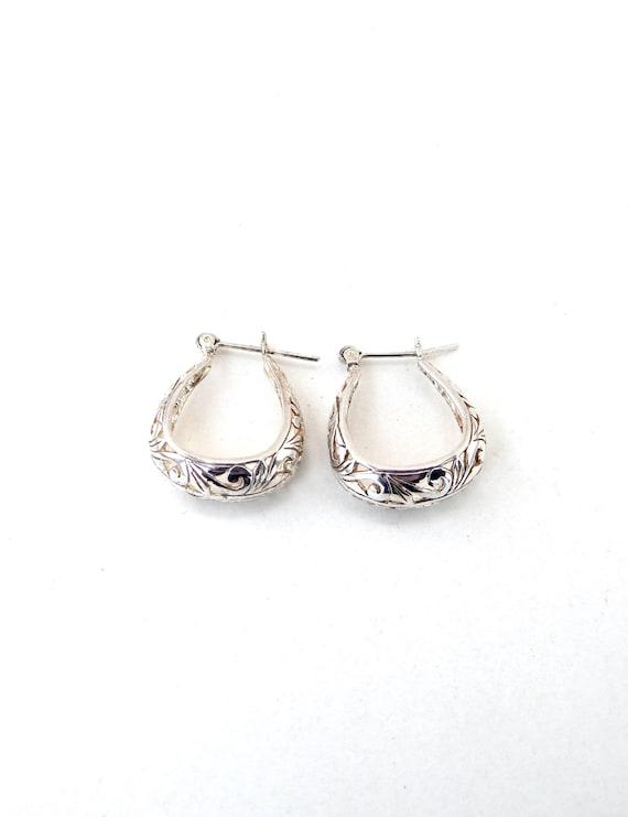 259d5ae7d Vintage JEZ Jezlaine Sterling Silver Filigree Hoop Earrings | Etsy