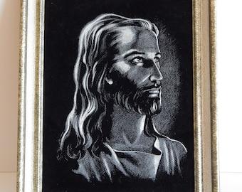 Vintage Black Velvet Painting Jesus Large Framed Artwork, Jesus Christ Black and White Painting, Christian Gift, Religious Decor