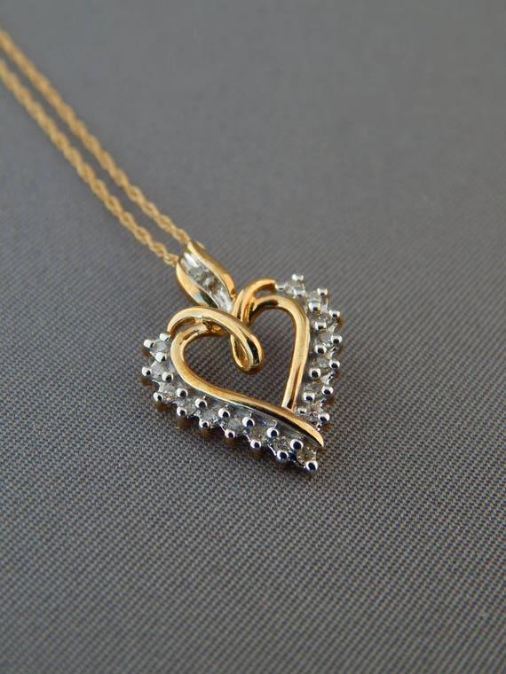 Vintage Diamond 10k Yellow Gold Heart Pendant Necklace 1ok Etsy
