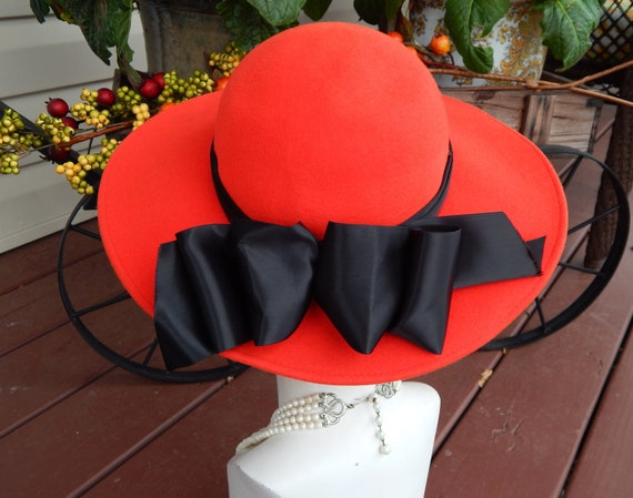 Red Hat Black Bow, Red Wool Hat, Wide Brim Hat Woo
