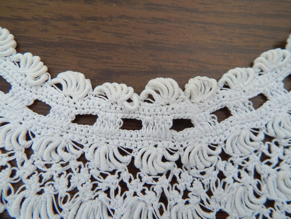 Antique Lace Collar, Exquisite White Handmade Lac… - image 5