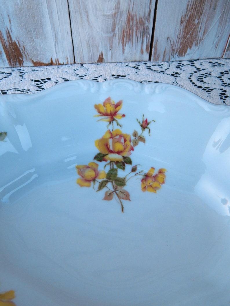 Bavaria Germany China Yellow Roses Gold Trim JOH18 JOHANN HAVILAND Bavaria Yellow Rose Oval Vegetable Bowl Serving Bowl