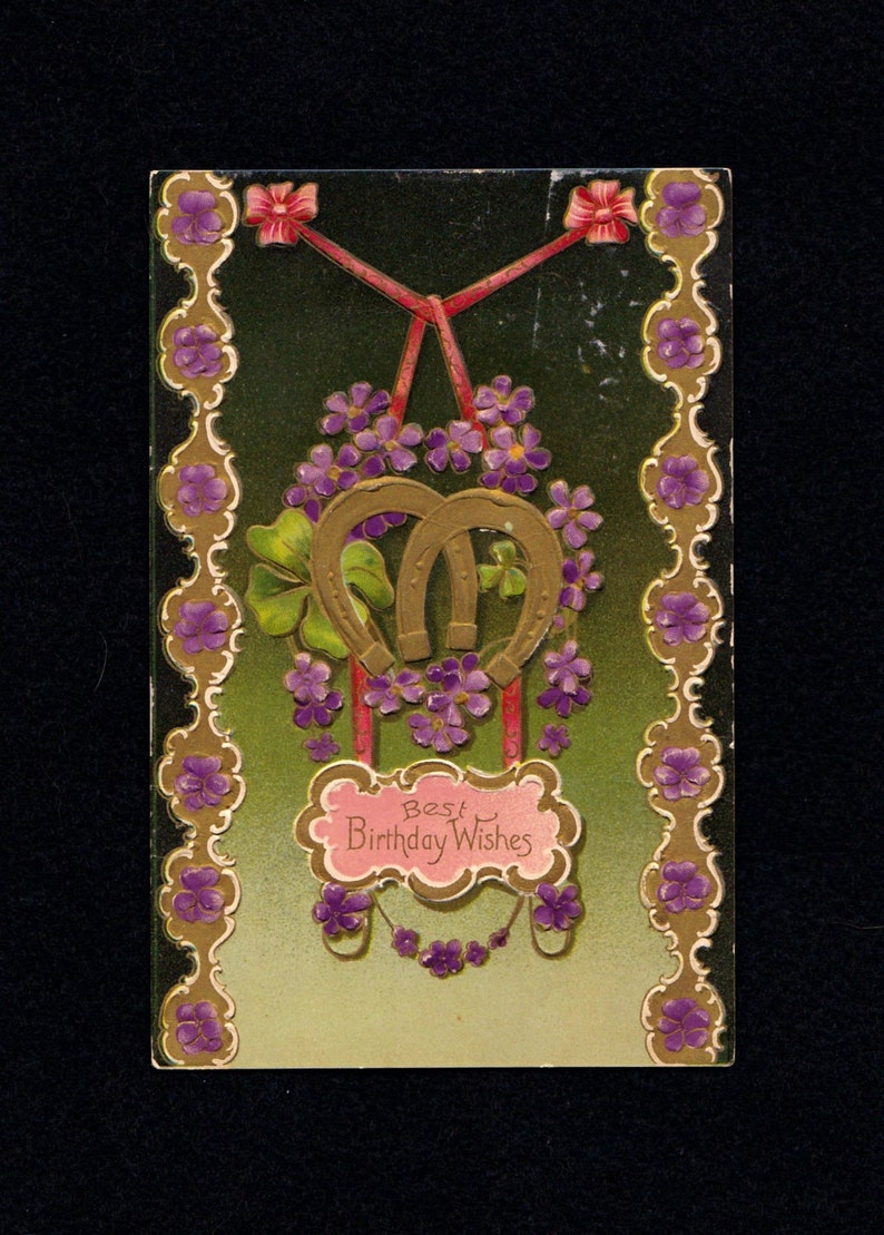 Antique Birthday Postcard Davidson Bros Germany, Gold Leaf Embossed German  Postcard, Horseshoe Violets Shamrock Birthday Wishes Ephemera