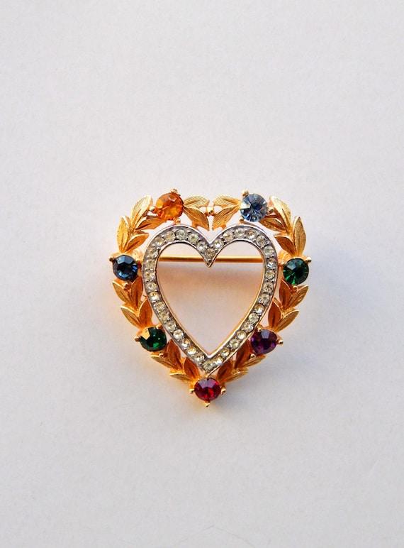 Art Deco Trifari stylized heart rhinestone Brooch early 1950/'s-gorgeous dazzling clear nevette stones on glossy silver plating--Art.1574-