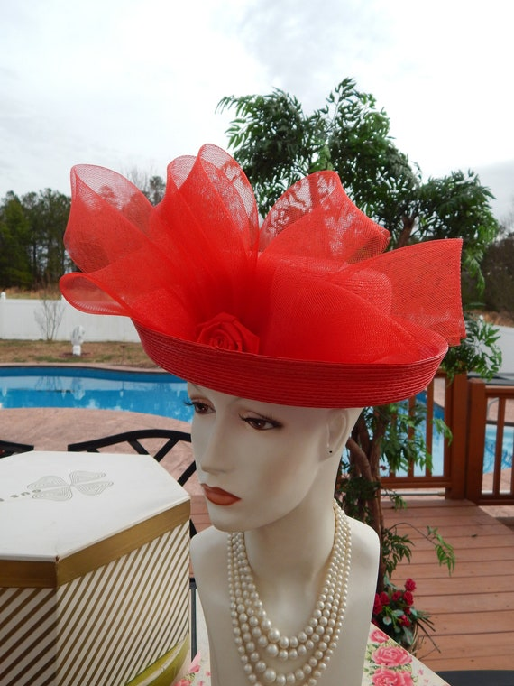 Red Hat Huge Bow Kentucky Derby Dramatic Over The