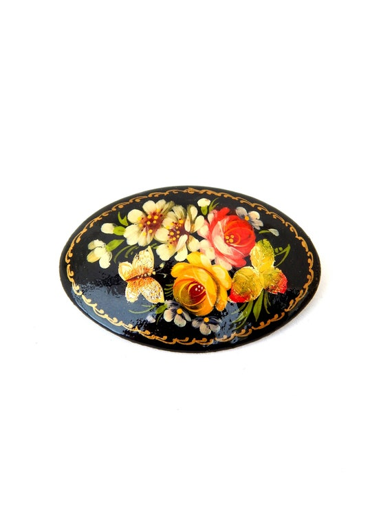 Vintage Russian Lacquer Hand Painted Wood Oval Brooch Signed