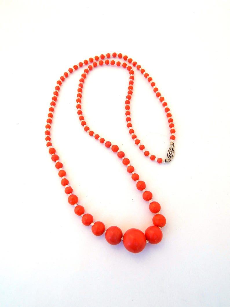 Vintage Coral Red Celluloid Necklace 10K Filigree Clasp Early Plastic Necklace Faux Coral Celluloid Necklace Graduated Beads Single Strand