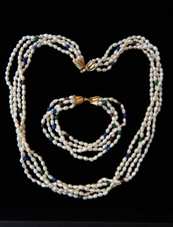 Blue Seed pearl /& Crystal  36 necklace Strand Great Colors FREE SHIPPING USA