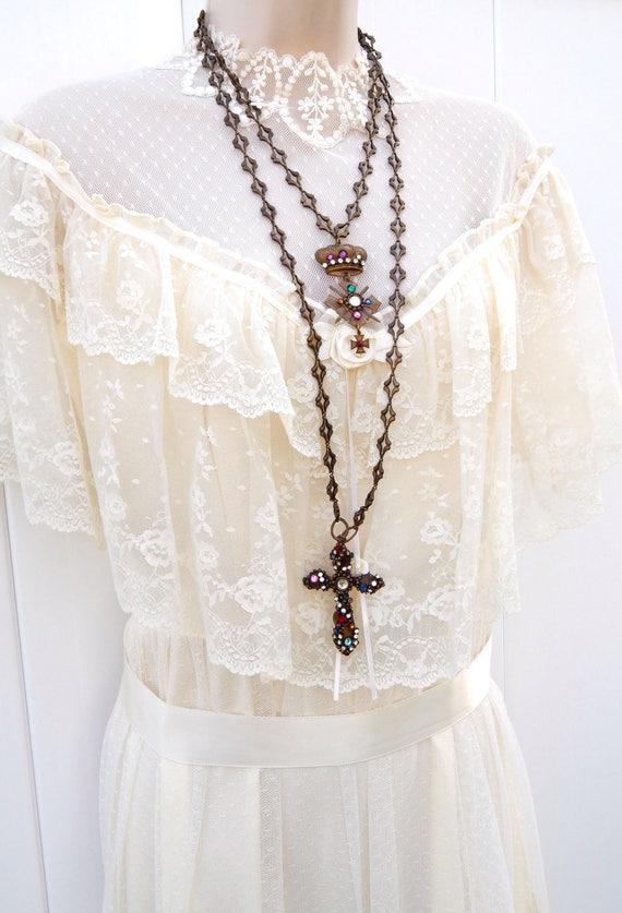 Gothic Cross Necklace, Crucifix Rhinestone Crown L